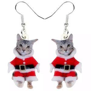 🎄🎄🎄 Acrylic Santa Kitty Earrings